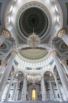Interior of Nur-Astana Mosque in Astana, Kazakhstan Astana Kazakhstan, Kazakhstan Travel, Mosque Architecture, Art And Architecture, Ancient Architecture, La Ilaha Illallah, Mekka, Beautiful Mosques, Islamic Architecture