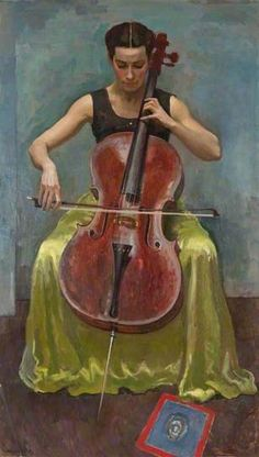 Alberto Morrocco - Portrait of Camilla Uytman 1956 Cello in art. Cello Music, Art Music, Cello Art, Violin Family, Digital Museum, Collaborative Art, Art Uk, Classical Music, Figure Painting