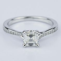 A stunning recently purchased Split Shank Micropave Asscher Diamond Engagement Ring in White Gold in on it's way to one soon to be very happy individual!