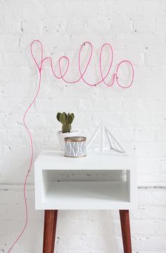 DIY neon letter light...and cacti