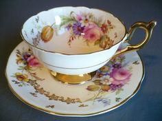 Foley TEA CUP Saucer C1948 Pink Rose Mixed Floral Sprays Golden Cream   eBay