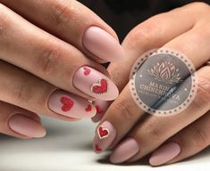 14th February nails, Festive pink nails, Heart nail designs, Hearts on nails, Manicure on the day of lovers, Nails ideas 2018, Nails trends 2018, Oval nails