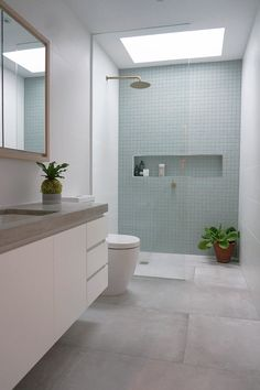 You need a great deal of minimalist bathroom ideas. The minimalist bathroom design concept has several advantages. See the best collection of bathroom photos. Ensuite Bathrooms, Laundry In Bathroom, Bathroom Renovations, Skylight Bathroom, Bathroom Mirrors, Bathroom Shelves, Vanity Shelves, Framed Mirrors, White Bathrooms