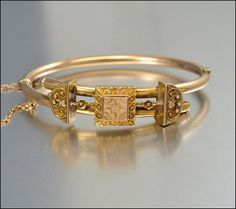 Victorian Gold Bangle Bracelet Antique Jewelry
