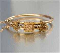 Victorian Bangle Bracelet Gold Filled Etruscan Bypass by boylerpf, $145.00