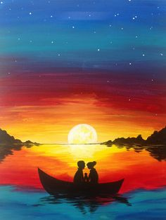 Ocean sunset painting ocean sunset painting lovely best beach summer canvas painting images on ocean sunset . Shadow Painting, Easy Canvas Painting, Simple Acrylic Paintings, Great Paintings, Painting & Drawing, Watercolor Paintings, Canvas Art, Sunset Painting Easy, Sunset Paintings