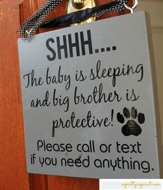 Shhh... The baby is sleeping and big brother is protective!  Please call or text if you need anything on Etsy, $23.00