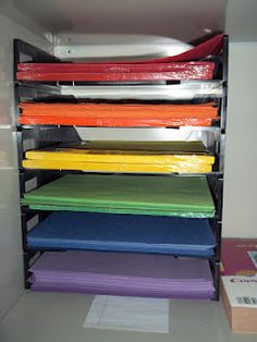Organize Your Construction Paper On Stackable File Shelves.