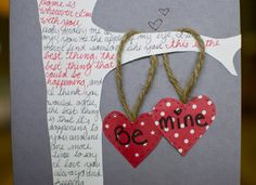 home made card! cover the tree with lyrics to your man's favorite songs, or wedding songs!