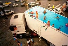 "Semi Truck Swimming Pool, France,""It's a French thing"",(Lifeguard on Duty), pinned by Ton van der Veer Semi Trucks, Big Rig Trucks, Cool Trucks, Cool Cars, Diesel Trucks, Peterbilt, Volvo, Scania V8, Monster Trucks"