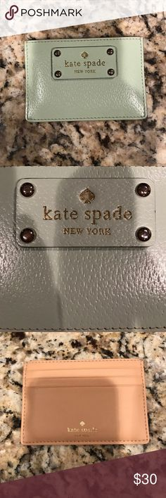 Kate Spade ♠️ wallet Mint green Kate Spade wallet. Fits four credit cards ♣️ only wear is the gold ♠️is wearing off as seen in pictures. Great for small purses and on the go! kate spade Bags Wallets
