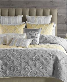 BEAUTIFUL 6 PC ELEGANT CHIC GREY YELLOW FLORAL MODERN QUILT SET ... : yellow quilts and comforters - Adamdwight.com