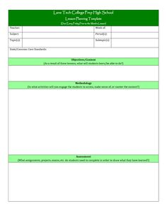 Blank Lesson Plan Template  Templates    Blank Lesson