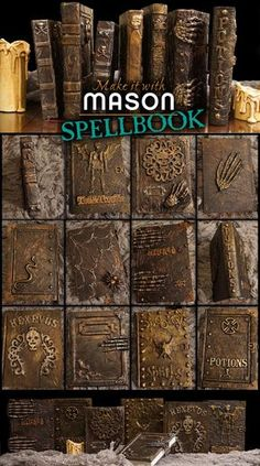 a Mason says what?: Make It With Mason – Spell Books – Allred Design a Mason says what?: Make It With Mason – Spell Books a Mason says what?: Make It With Mason – Spell Books Grimoire Halloween, Halloween Spells, Halloween Tags, Holidays Halloween, Diy Halloween Spell Book, Halloween Scene, Homemade Halloween, Diy Halloween Book Covers, Halloween Halloween