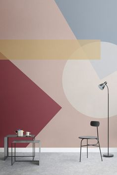The new bauhaus-inspired collection by murals wallpaper colourful beautiful things Bauhaus Colors, Bauhaus Art, Bauhaus Style, Bauhaus Design, Bauhaus Interior, Design Web, Wall Design, Book Design, Layout Design