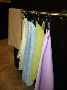Here's a handy way to hang and organize all your Norwex cloths! Thanks to my creative husband for this great idea. Norwex Biz, Norwex Cleaning, Green Cleaning, Cleaning Hacks, Norwex Products, Cleaning Solutions, Spring Cleaning, Cleaning Supplies, Norwex Cloths