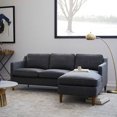 Eddy Reversible Sectional - Large | west elm Sofa Seats, Chaise Cushions, Couch, 1950s Furniture, Sofa Furniture, Sofas For Small Spaces, Solid Oak, Trestle Legs, Leather Conditioner