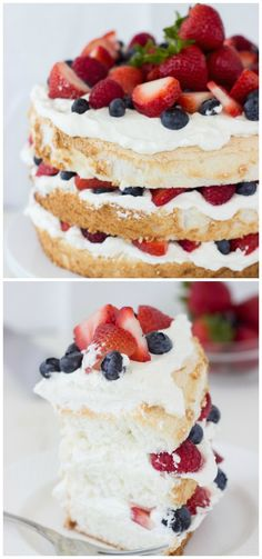Saving this because I never though of making a layer cake with angel food cake. A of July perfect Angel Food Cake with Coconut Whipped Cream and Berries. 4th Of July Desserts, Just Desserts, Delicious Desserts, Yummy Treats, Sweet Treats, Cake Recipes, Dessert Recipes, Cheap Recipes, Yummy Recipes