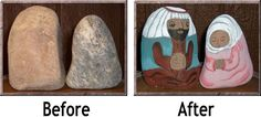 https://flic.kr/p/aXLvRX | Dark Nativity - Before & After | This nativity set was painted on large rocks and features a darker skintone. You can see how the rocks on the right become enlivened with paint application.