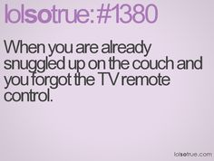 Or if you're snuggled in bed and you still forget the remote! Ugh!