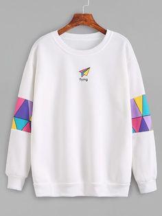 White Patchwork Print Sweatshirt