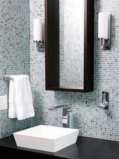 blue mosaic glass bathroom tile