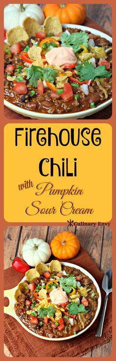 Firehouse Chili with Pumpkin Sour Cream will warm up any occasion. Smoky, spicy, yet sweet chili flavors make it a family favorite! It is hearty with 2 kinds of bean and loads of vegetables. Comfort food at its finest!