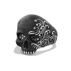 David Yurman Waves Large Skull Ring with Black Diamonds ($700) ❤ liked on Polyvore featuring men's fashion, men's jewelry, men's rings, mens skull rings, mens black diamond rings and david yurman mens rings