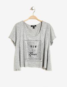 tee-shirt évasé imprimé gris chiné