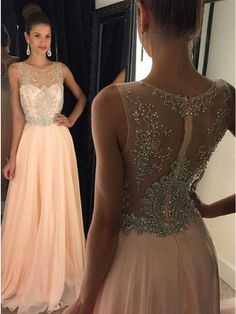 Elegant A-Line Crew Neck Floor-Length Chiffon Pink Prom Dress Evening Gowns With Beading (ED1318) - Long Prom Dresses - PROM DRESSES