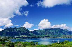 Oahu with the Pali (cliffs) of the Koolau Mountains behind; Hawaii