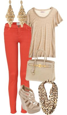 Coral pants, beige t-shirt, beige wedges, gold chandelier earrings, beige bag, leopard scarf.