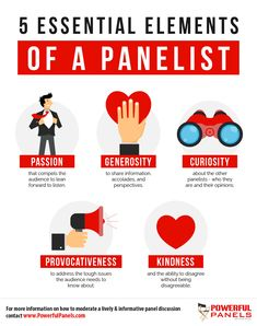 Professional panel moderator Kristin Arnold shares how panelists can be professional, interesting, and powerful during a panel discussion. Essential Elements, Communication Skills, Infographics, Programming, Perspective, Anxiety, Finance, Presentation, Essentials