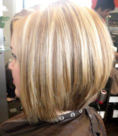 partial highlights on a blonde bombshell... love the new stacked bob haircut!