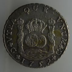 REPRICED! BIG SALE! 1759 Guatemala Ferdind VI, 8 reales,Spanish Colonial Silver DOS MUNDOS COINAGE