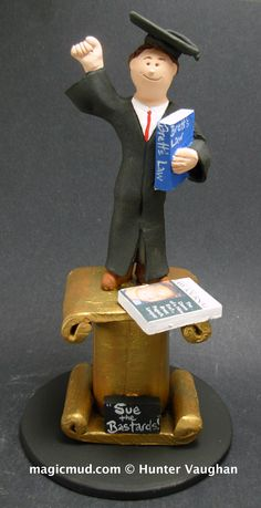 Christmas Gift for a Graduate  www.magicmud.com 1 800 231 9814 creating a custom made gift figurine for any man based on the things he likes to do! ...incorporating his work, sports, family, hobbies, food, drink, electronic gadgets, etc. $225  #graduate #son  #dad #men #guys #christmas #birthday #anniversary #custom #personalized #xmas #present #award #ChristmasGift #BirthdayGift #husband