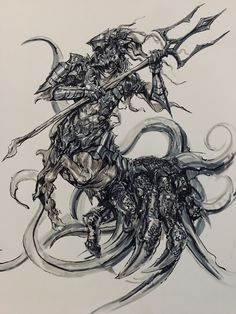 """The Dark Knight, The Trident of Dying Stars """"We look like this because you look like this, we are you cast into infinity where the choice is to always remain till the very end. Dark Souls Art, Dark Knight Returns, Knight Armor, Soul Art, Centaur, Trident, Drawing Reference, Inktober, Concept Art"""
