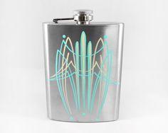 8oz Pinstriped Flask Aqua & Ivory Kustom Pinstriping by DumbJunk
