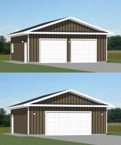 Shed Building Plans Steel Garage Buildings, Metal Garages, Shop Buildings, Metal Buildings, Cool Garages, 2 Car Garage Plans, Garage Workshop Plans, Garage Ideas, Carport Plans