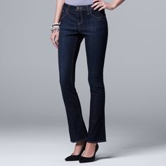 d3ea0d590a8c Petite Simply Vera Vera Wang Everyday Luxury Midrise Bootcut Jeans