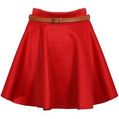 Red Belted Skater Skirt ($15) ❤ liked on Polyvore