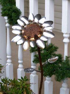 spoons made into garden art