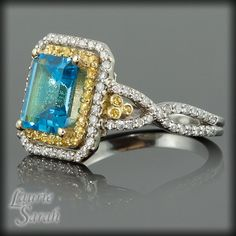 Blue Topaz Yellow Sapphire and Diamond Ring by LaurieSarahDesigns, $2043.30