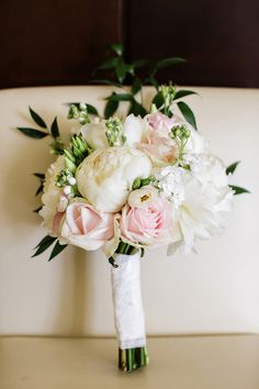 beautiful peony and rose bouquet