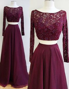 Burgundy Prom Dresses,Two Pieces Prom Dresses,Long Sleeve Prom Dresses,Beaded Prom Dresses,Lace Prom Dresses,Long Prom Gowns,Elegant Evening Dresses,2017 Prom Dresses,Chiffon Prom Dresses