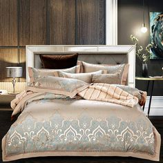New Design Luxury Silk Cotton Jacquard Bedding Set Hollow Duvet cover set Bedsheet Pillowcases bed linen Queen King size Luxury Bed Sheets, Luxury Bedding Sets, Modern Bedding, Turquoise Bedding, Silver Bedding, Linen Bedding, Bed Linens, Luxurious Bedrooms, Duvet Cover Sets