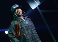 GRAMMY winner Missy Elliott puts that thing down, flips it and reverses it during a performance at the Alexander Wang x H&M launch party on Oct. 16 in New York