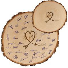 **Baumscheibe – Gästebuch Alternative zur Hochzeit** Bei einer Hochzeit darf eines nicht fehlen: das Gästebuch! Wenn ihr aber gelangweilt von den ewig gleich klassisch-schönen Papierformaten...