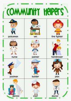 Community Helper words desk chart
