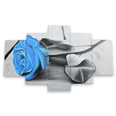 IARTS Large Canvas Art Blue Rose Oil Painting Flower Artwork Group Paintings on Canvas for Bedroom Dinning Room 5 Pcs (Unframe and No Stretcher) Oil Painting Flowers, Oil Painting On Canvas, Bedroom Canvas, Flower Artwork, Large Canvas Art, Large Flowers, Modern Frames, Paintings, Prints